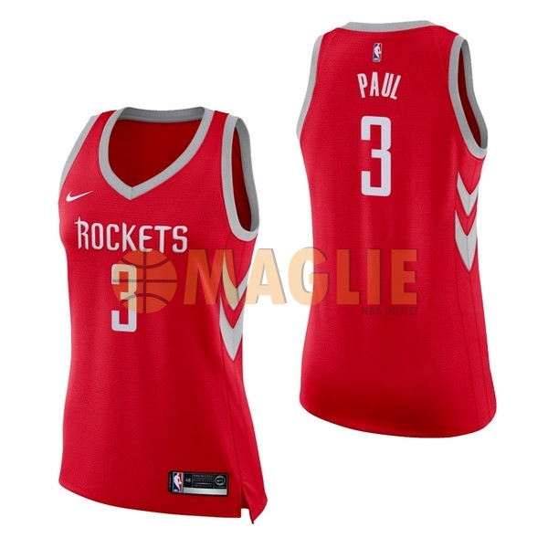Acquista Sconto Maglia NBA Donna Houston Rockets NO.3 Chris Paul Rosso Icon