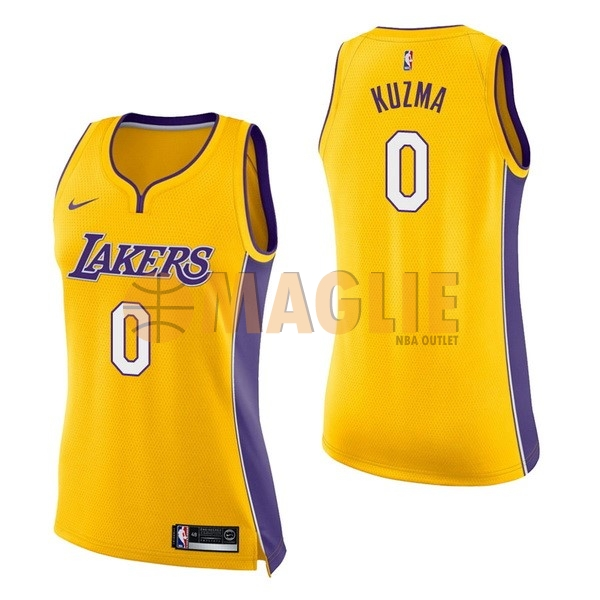 Acquista Sconto Maglia NBA Donna Los Angeles Lakers NO.0 Kyle Kuzma Giallo Icon