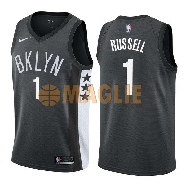 Acquista Sconto Maglia NBA Nike Brooklyn Nets NO.1 D'Angelo Russell Nero Statement