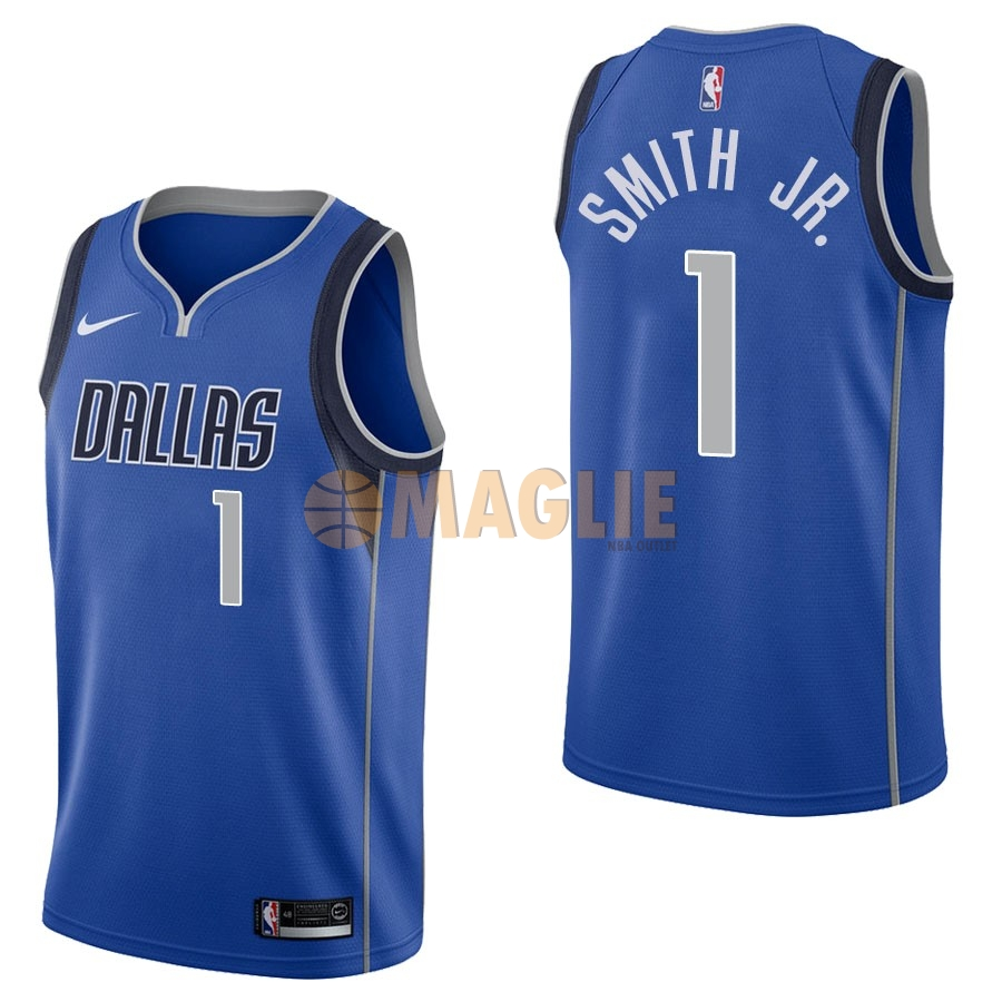 Acquista Sconto Maglia NBA Nike Dallas Mavericks NO.1 Dennis Smith Jr Blu Icon