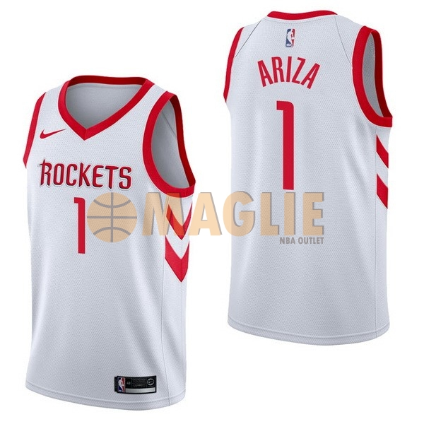 Acquista Sconto Maglia NBA Nike Houston Rockets NO.1 Trevor Ariza Bianco Association