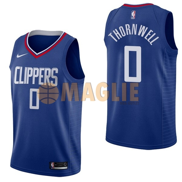 Acquista Sconto Maglia NBA Nike Los Angeles Clippers NO.0 Sindarius Thornwell Blu Icon
