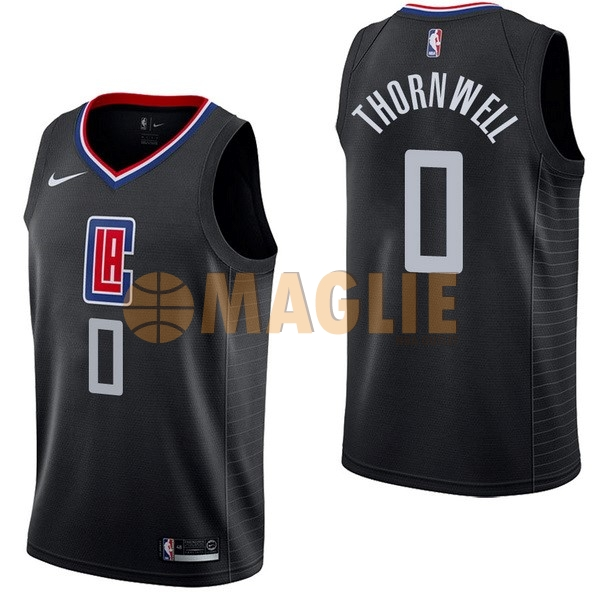 Acquista Sconto Maglia NBA Nike Los Angeles Clippers NO.0 Sindarius Thornwell Nero Statement