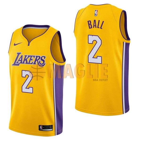 Acquista Sconto Maglia NBA Nike Los Angeles Lakers NO.2 Lonzo Ball Giallo Icon
