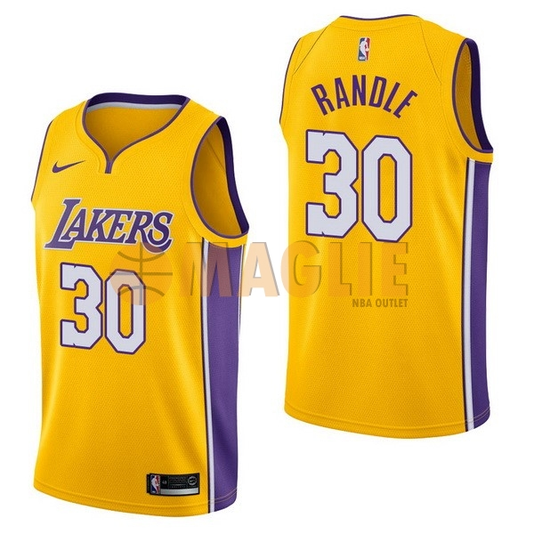Acquista Sconto Maglia NBA Nike Los Angeles Lakers NO.30 Julius Randle Giallo Icon