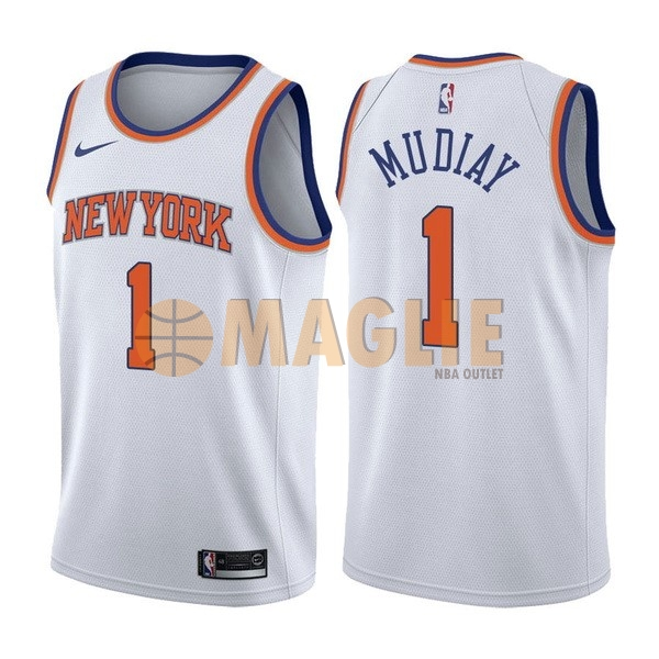 Acquista Sconto Maglia NBA Nike New York Knicks NO.1 Emmanuel Mudiay Bianco Association