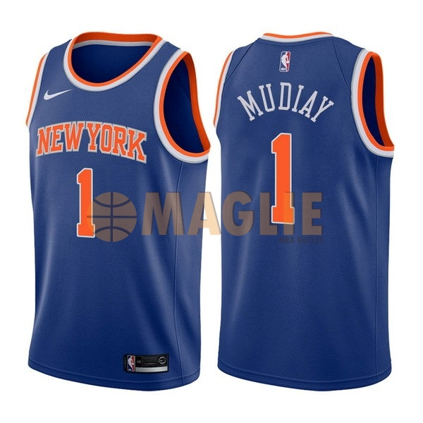 Acquista Sconto Maglia NBA Nike New York Knicks NO.1 Emmanuel Mudiay Blu Icon
