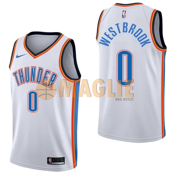Acquista Sconto Maglia NBA Nike Oklahoma City Thunder NO.0 Russell Westbrook Bianco Association