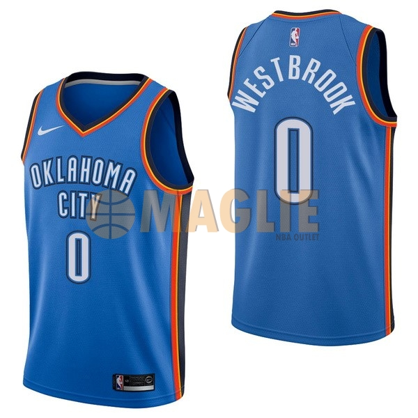 Acquista Sconto Maglia NBA Nike Oklahoma City Thunder NO.0 Russell Westbrook Blu Icon