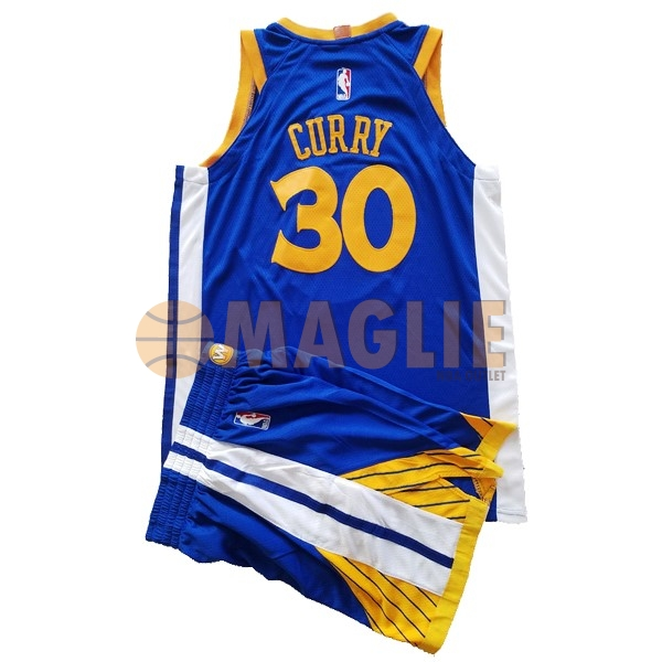 Acquista Sconto Maglia NBA Set Completo Bambino Golden State Warriors NO.30 Stephen Curry Blu 2017-18