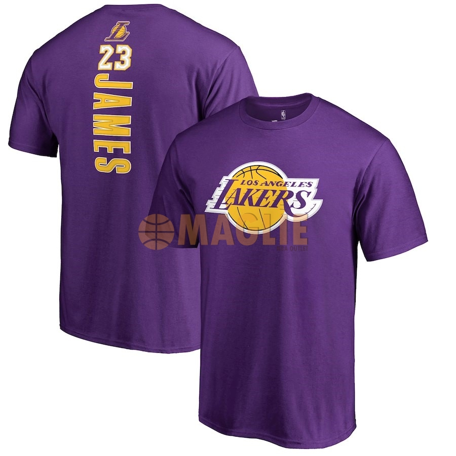 Acquista Sconto Maglia NBA Nike Los Angeles Lakers Manica Corta NO.23 Lebron James Porpora