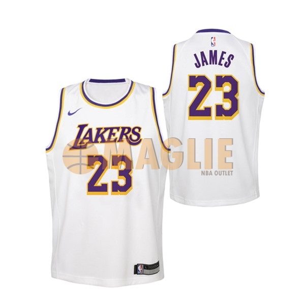 Acquista Sconto Maglia NBA Bambino Los Angeles Lakers NO.23 Lebron James  Bianco Association 2018 f6fb2c434413