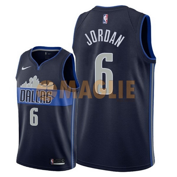 Acquista Sconto Maglia NBA Nike Dallas Mavericks NO.6 DeAndre Jordan Nero Statement 2018