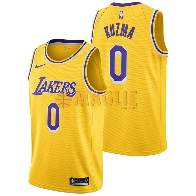 Acquista Sconto Maglia NBA Nike Los Angeles Lakers NO.0 Kyle Kuzma Giallo Icon 2018-19