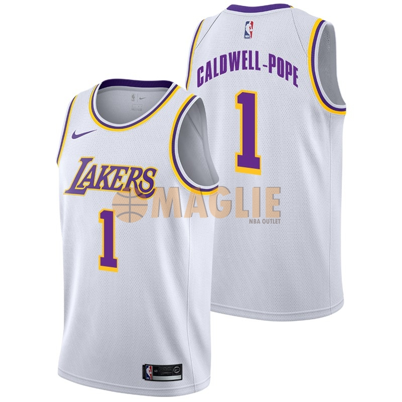 Acquista Sconto Maglia NBA Nike Los Angeles Lakers NO.1 Kentavious Caldwell Pope Bianco Association 2018-19