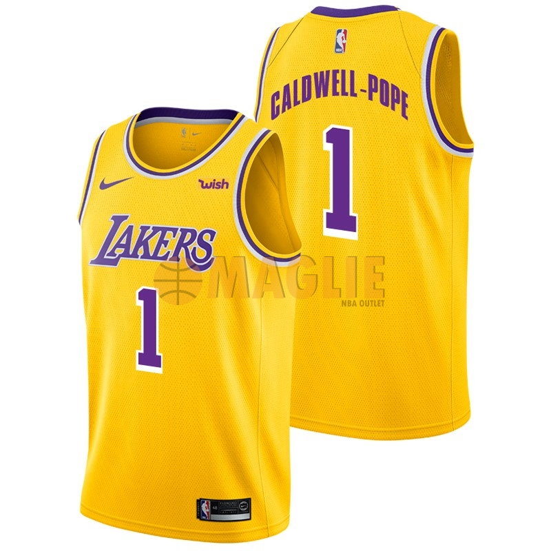 Acquista Sconto Maglia NBA Nike Los Angeles Lakers NO.1 Kentavious Caldwell Pope Giallo 2018-19