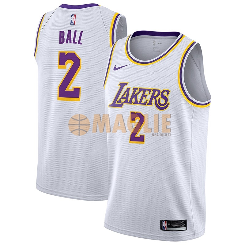 Acquista Sconto Maglia NBA Nike Los Angeles Lakers NO.2 Lonzo Ball Bianco Association 2018-19