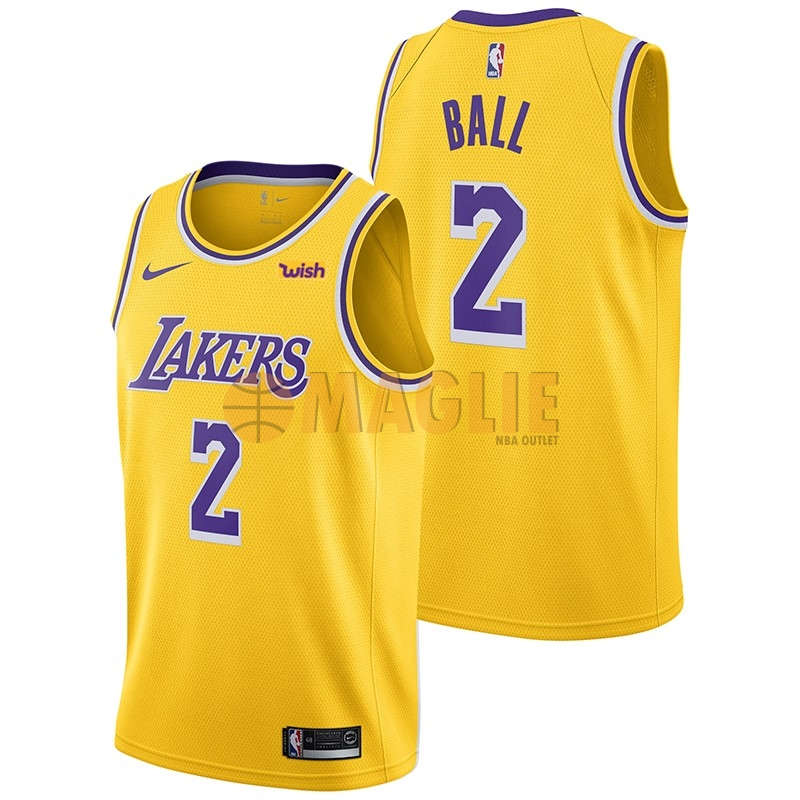 Acquista Sconto Maglia NBA Nike Los Angeles Lakers NO.2 Lonzo Ball Giallo 2018-19