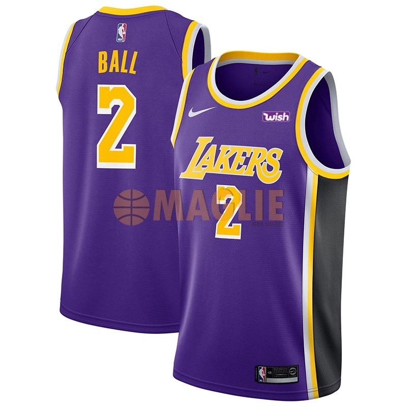 Acquista Sconto Maglia NBA Nike Los Angeles Lakers NO.2 Lonzo Ball Porpora 2018-19