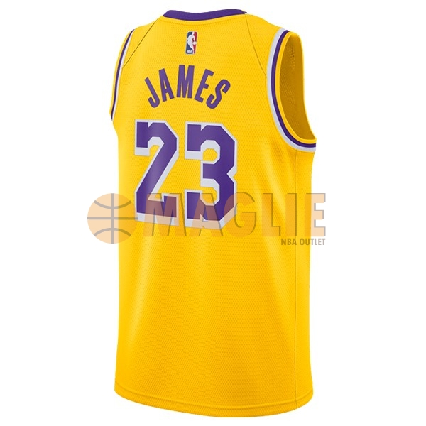 Acquista Sconto Maglia NBA Nike Los Angeles Lakers NO.23 Lebron James Giallo 2018-19