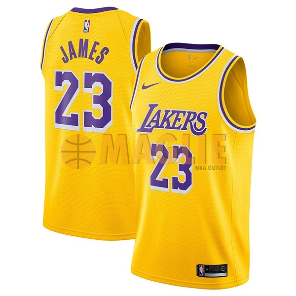 Acquista Sconto Maglia NBA Nike Los Angeles Lakers NO.23 Lebron James Giallo Icon 2018-19