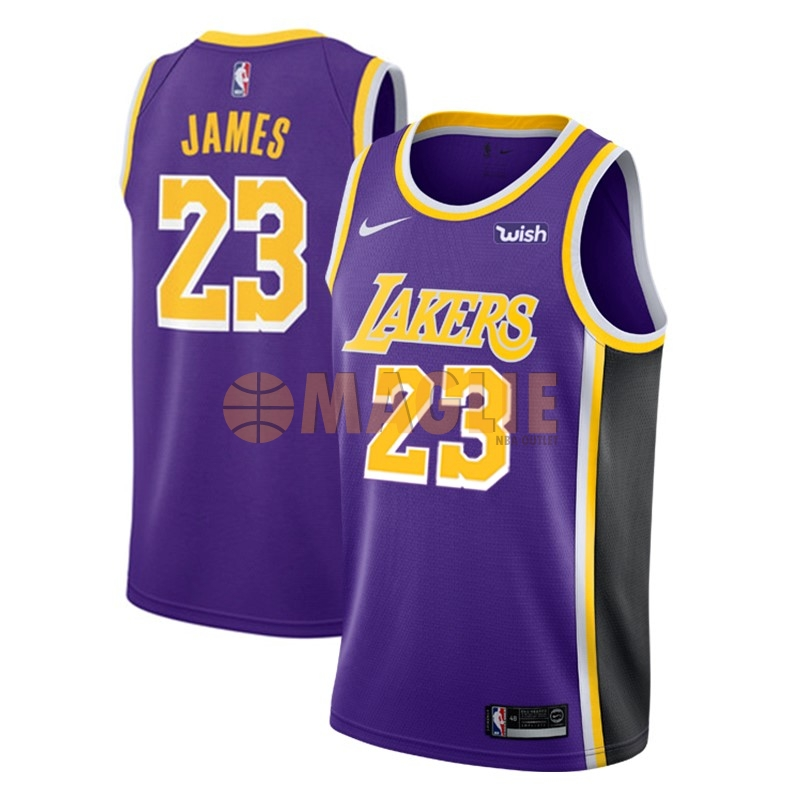 Acquista Sconto Maglia NBA Nike Los Angeles Lakers NO.23 Lebron James Porpora 2018-19