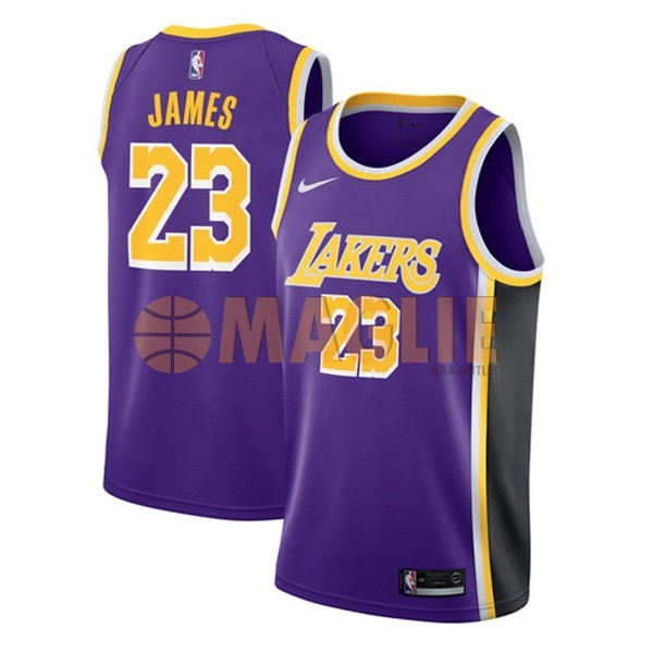 Acquista Sconto Maglia NBA Nike Los Angeles Lakers NO.23 Lebron James Porpora Statement 2018-19