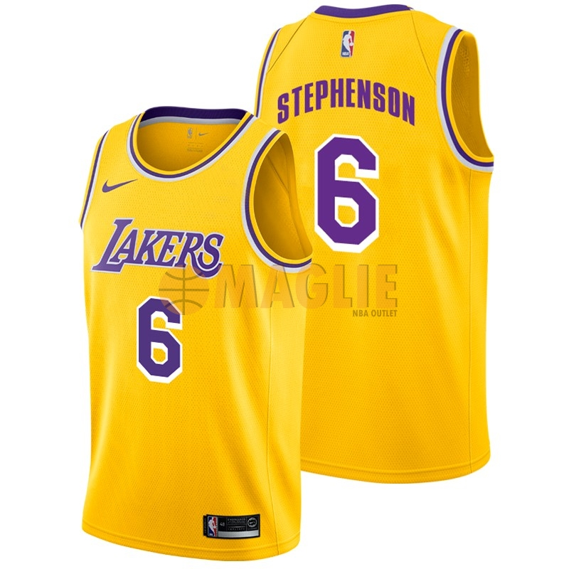 Acquista Sconto Maglia NBA Nike Los Angeles Lakers NO.6 Lance Stephenson Giallo Icon 2018-19