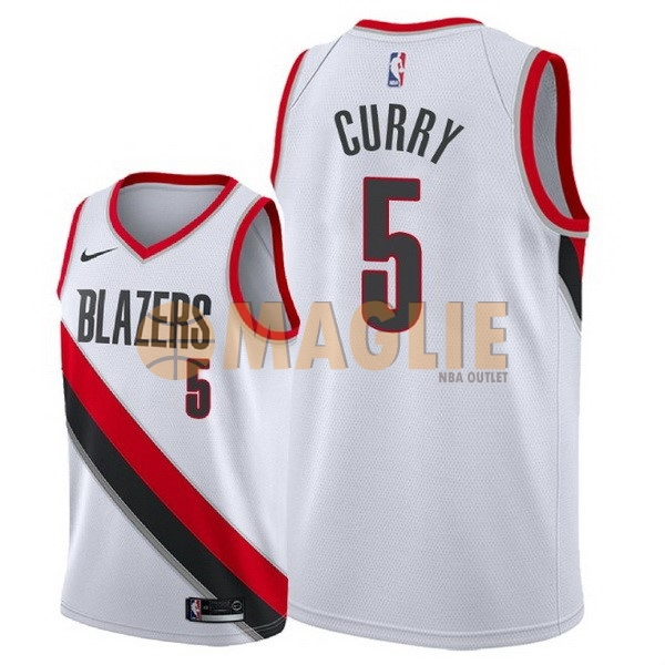 Acquista Sconto Maglia NBA Nike Portland Trail Blazers NO.5 Seth Curry Bianco Association 2018
