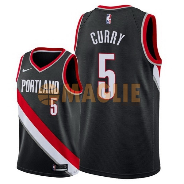 Acquista Sconto Maglia NBA Nike Portland Trail Blazers NO.5 Seth Curry Nero Icon 2018