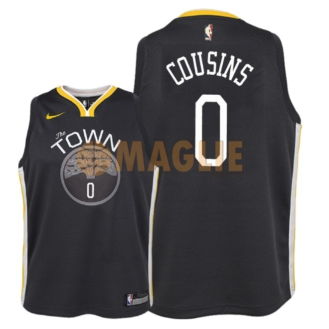 Acquista Sconto Maglia NBA Bambino Golden State Warriors NO.0 DeMarcus Cousins Nero Statement 2018