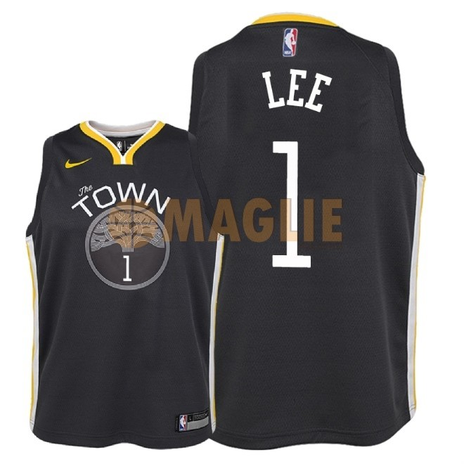 Acquista Sconto Maglia NBA Bambino Golden State Warriors NO.1 Damion Lee Nero Statement 2018