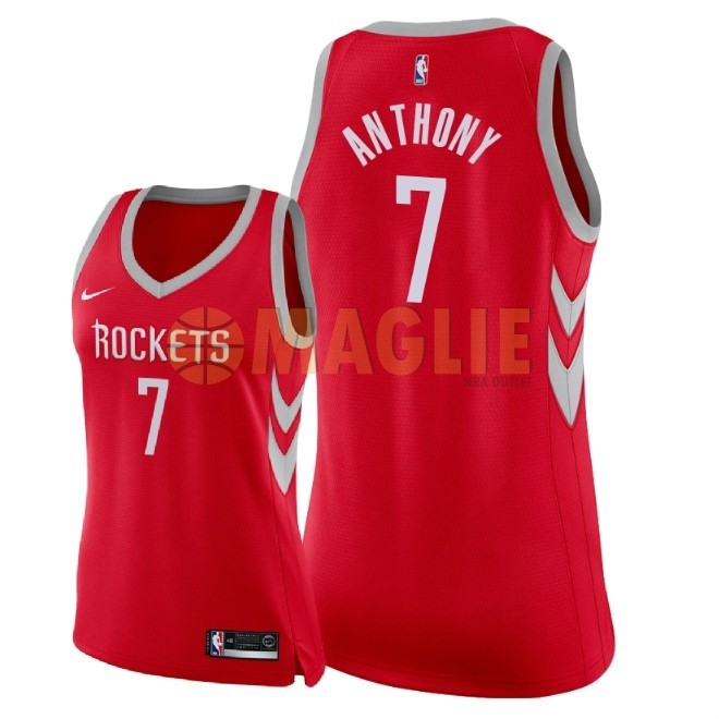 Acquista Sconto Maglia NBA Donna Houston Rockets NO.7 Carmelo Anthony Rosso Icon 2018