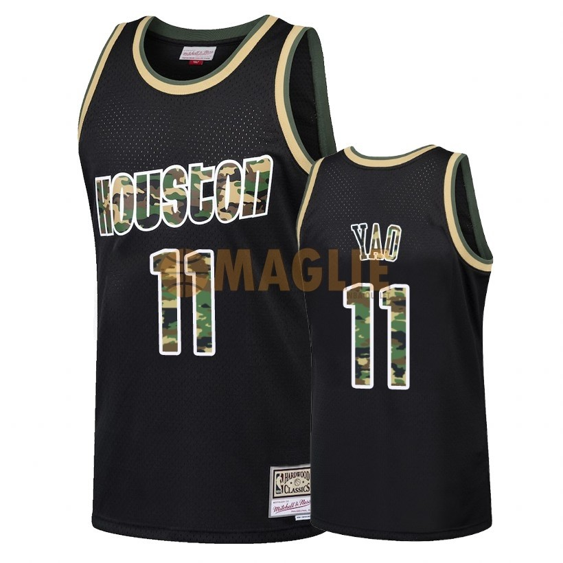 Acquista Sconto Maglia NBA Dritto Fire Camo Houston Rockets NO.11 Yao Ming Nero 2018