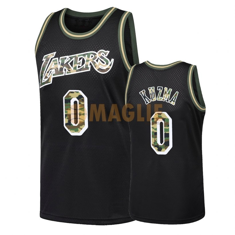 Acquista Sconto Maglia NBA Dritto Fire Camo Los Angeles Lakers NO.0 Kyle Kuzma Nero 2018