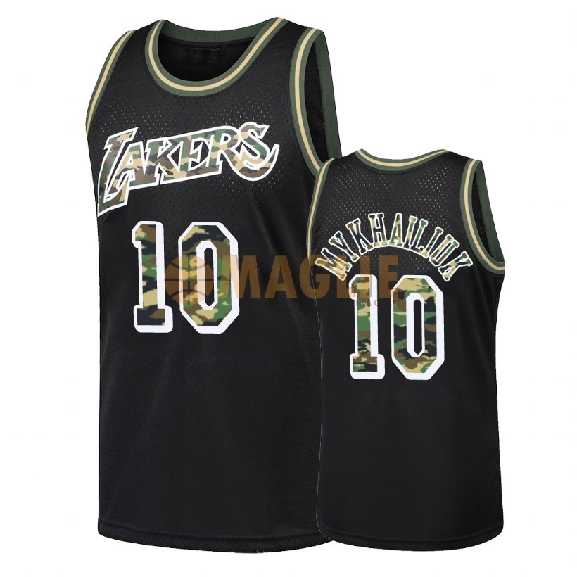 Acquista Sconto Maglia NBA Dritto Fire Camo Los Angeles Lakers NO.10 Sviatoslav Mykhailiuk Nero 2018
