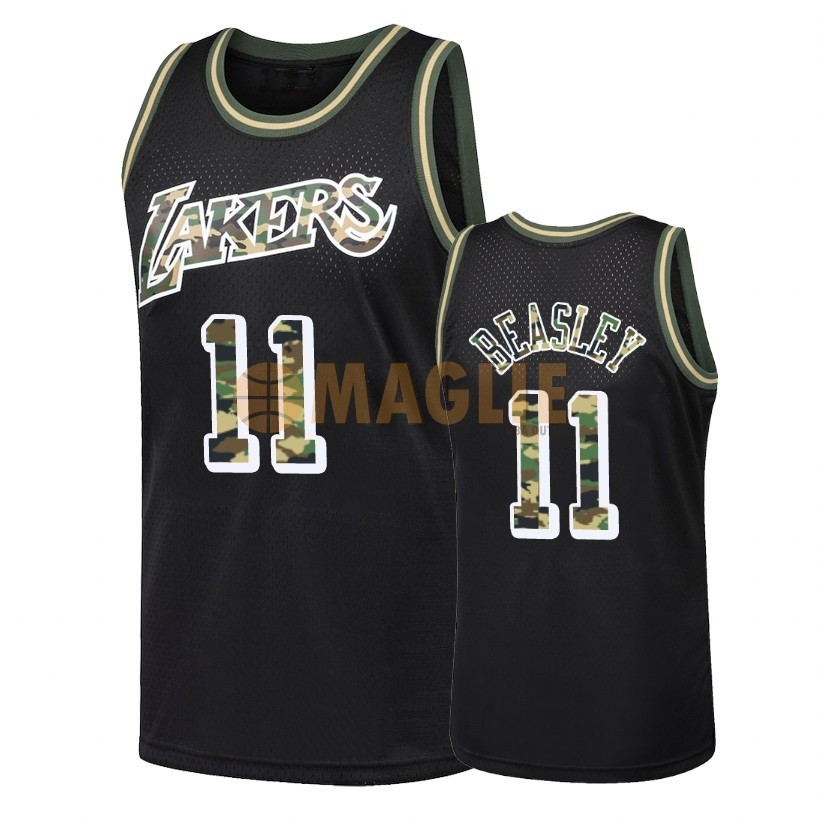 Acquista Sconto Maglia NBA Dritto Fire Camo Los Angeles Lakers NO.11 Michael Beasley Nero 2018