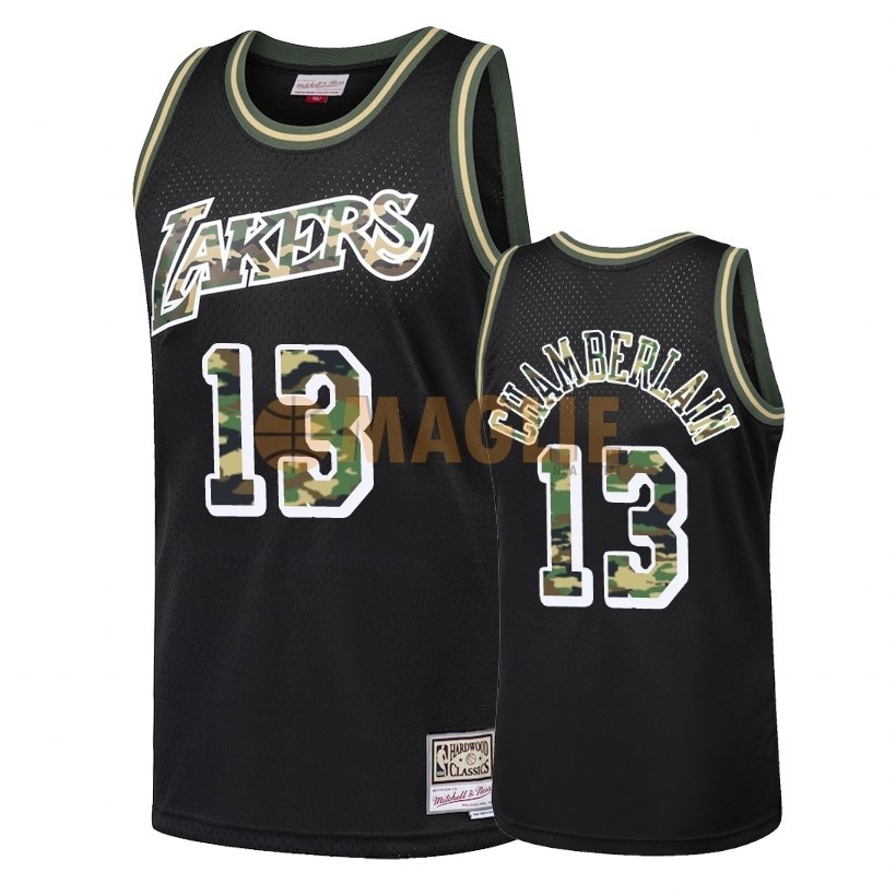 Acquista Sconto Maglia NBA Dritto Fire Camo Los Angeles Lakers NO.13 Wilt Chamberlain Nero 2018