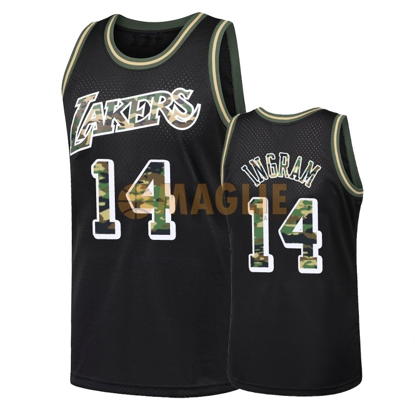 Acquista Sconto Maglia NBA Dritto Fire Camo Los Angeles Lakers NO.14 Brandon Ingram Nero 2018