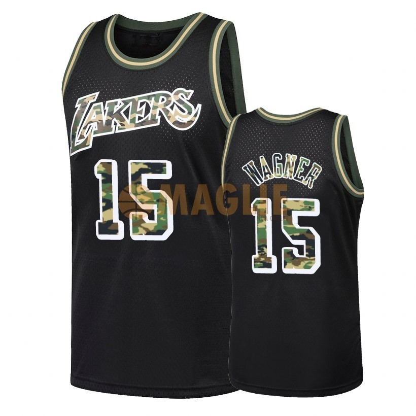 Acquista Sconto Maglia NBA Dritto Fire Camo Los Angeles Lakers NO.15 Moritz Wagner Nero 2018