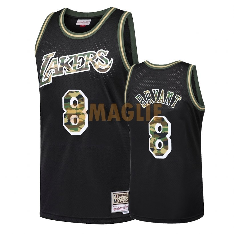 Acquista Sconto Maglia NBA Dritto Fire Camo Los Angeles Lakers NO.8 Kobe Bryant Nero 2018
