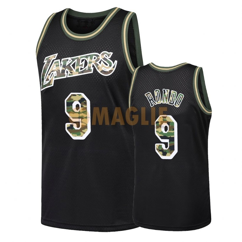 Acquista Sconto Maglia NBA Dritto Fire Camo Los Angeles Lakers NO.9 Rajon Rondo Nero 2018