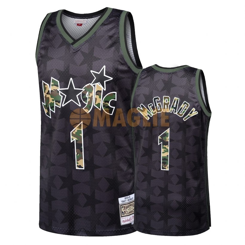 Acquista Sconto Maglia NBA Dritto Fire Camo Orlando Magic NO.1 Tracy McGrady Nero 2018