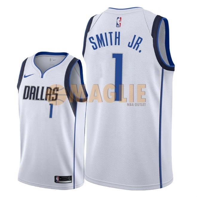 Acquista Sconto Maglia NBA Nike Dallas Mavericks NO.1 Dennis Smith Jr Bianco Association 2018