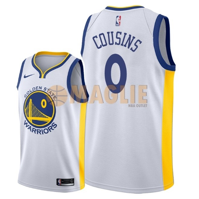 Acquista Sconto Maglia NBA Nike Golden State Warriors NO.0 DeMarcus Cousins Bianco Association 2018