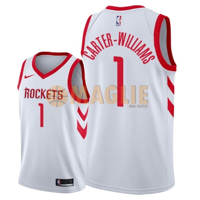 Acquista Sconto Maglia NBA Nike Houston Rockets NO.1 Michael Carter Williams Bianco Association 2018