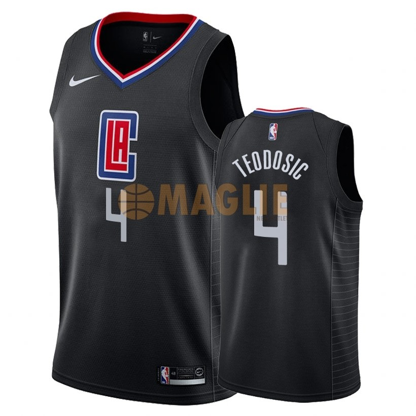 Acquista Sconto Maglia NBA Nike Los Angeles Clippers NO.4 Milos Teodisic Nero Statement 2018