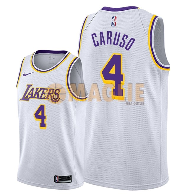 Acquista Sconto Maglia NBA Nike Los Angeles Lakers NO.4 Alex Caruso Bianco Association 2018-19
