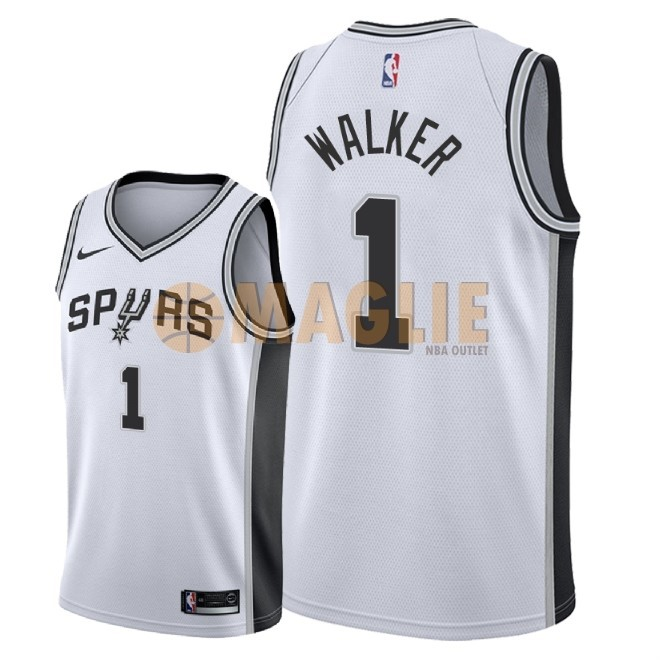 Acquista Sconto Maglia NBA Nike San Antonio Spurs NO.1 Lonnie Walker Bianco Association 2018
