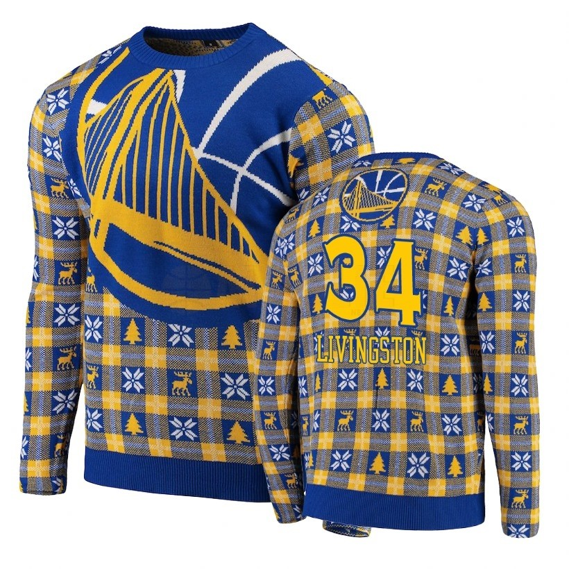 Acquista Sconto Maglione Ugly Unisex Golden State Warriors NO.34 Shaun Livingston Blu